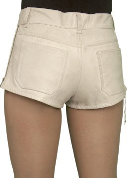 Womens Luxury Leather Hot Pants Shorts, jeans style, beige cream