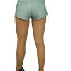 Womens Luxury Leather Hot Pants Shorts, jeans style, sky blue