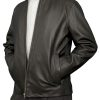 Mens Luxury Leather Bomber Jacket, black