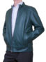 Mens Luxury Leather Bomber Jacket, blue
