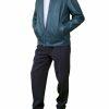 Mens Luxury Leather Bomber Jacket, blue