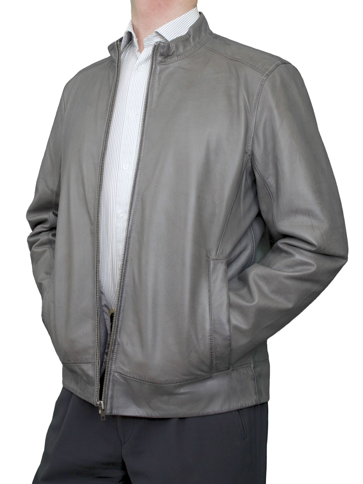 Mens Luxury Leather Bomber Jacket, grey