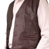 Mens Casual Soft Leather Waistcoat, burgundy