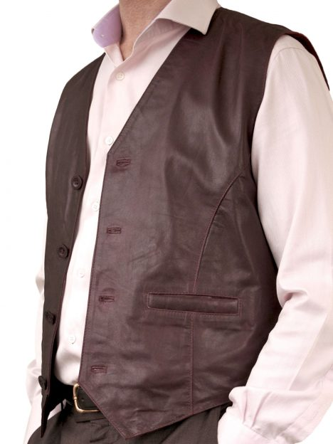 Mens Casual Soft Leather Waistcoat, burgundy