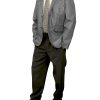 Mens Luxury Leather Blazer Jacket, 2-button, Grey
