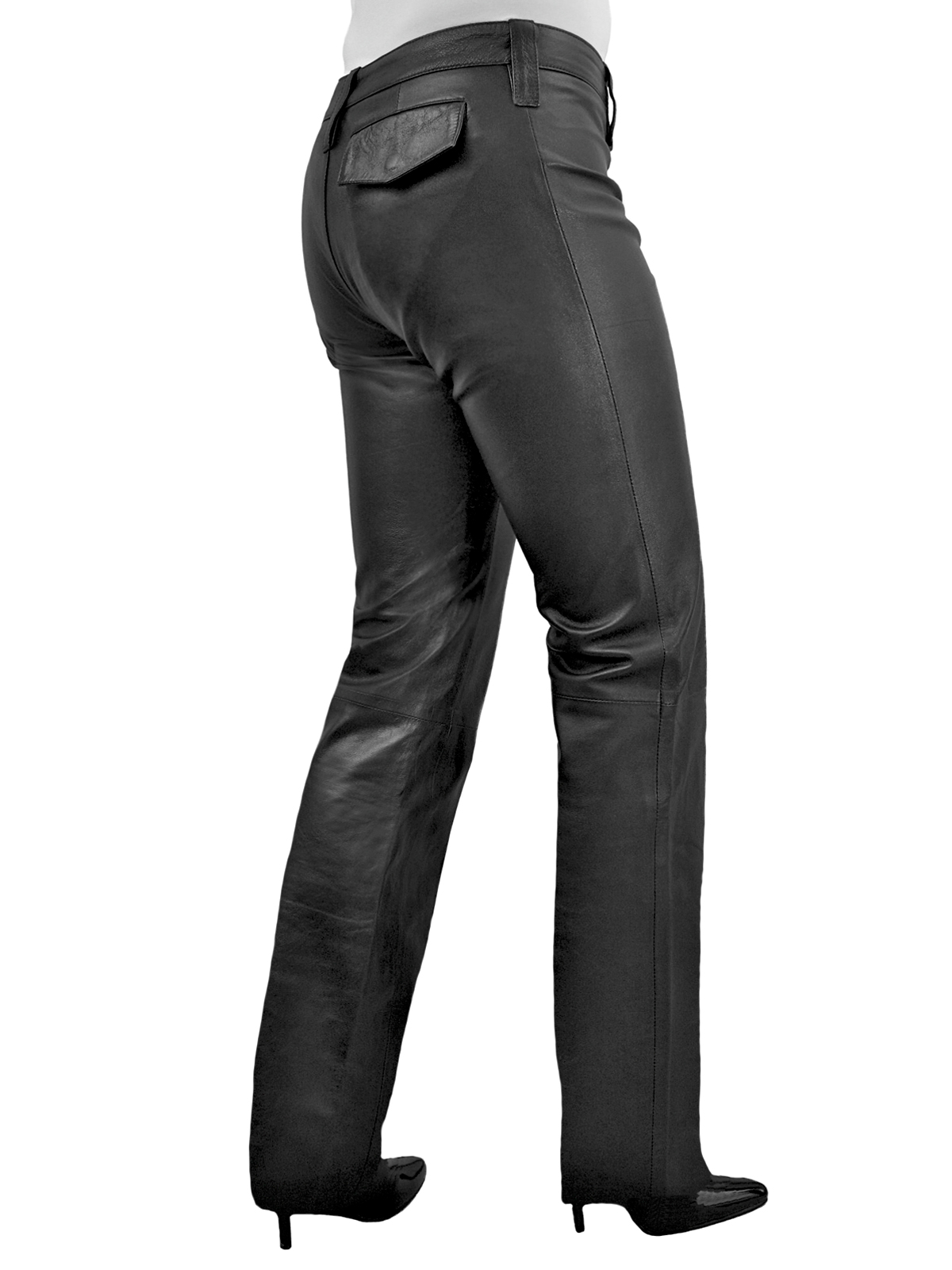 Women's Leather Trousers, mid-rise with straight leg cut, black