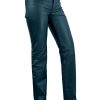 Women's Leather Trousers, mid-rise with straight leg cut, light navy