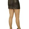 Black Tight Leather Mini Skirt, luxury soft, extra short length