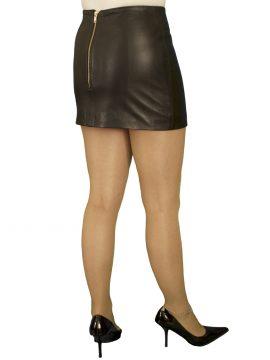 Black Tight Leather Mini Skirt, luxury soft, extra short length