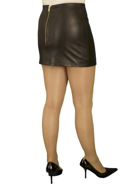 Black Tight Leather Mini Skirt Luxury Soft Extra Short