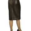 Luxury Black Leather Pencil Skirt with kick pleat, knee length