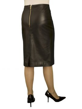 Luxury Black Leather Pencil Skirt with kick pleat, knee length