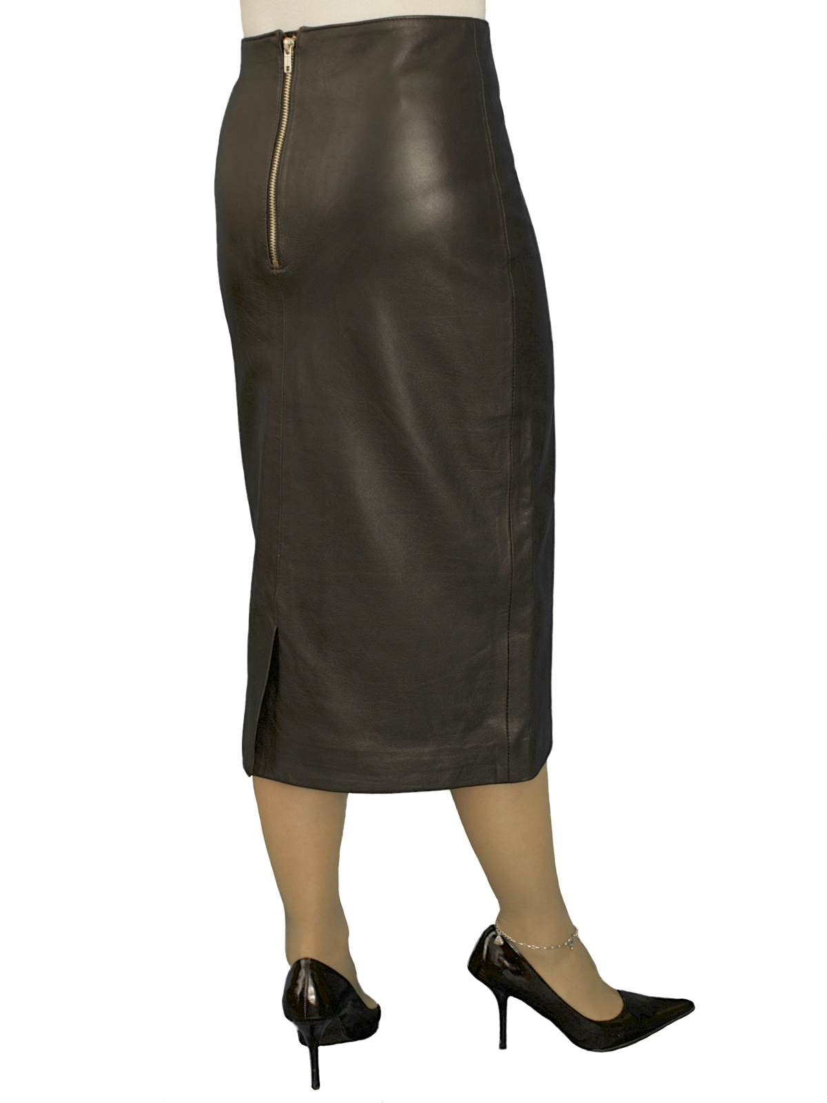 Luxury Black Leather Midi Pencil Skirt (27in length), kick pleat