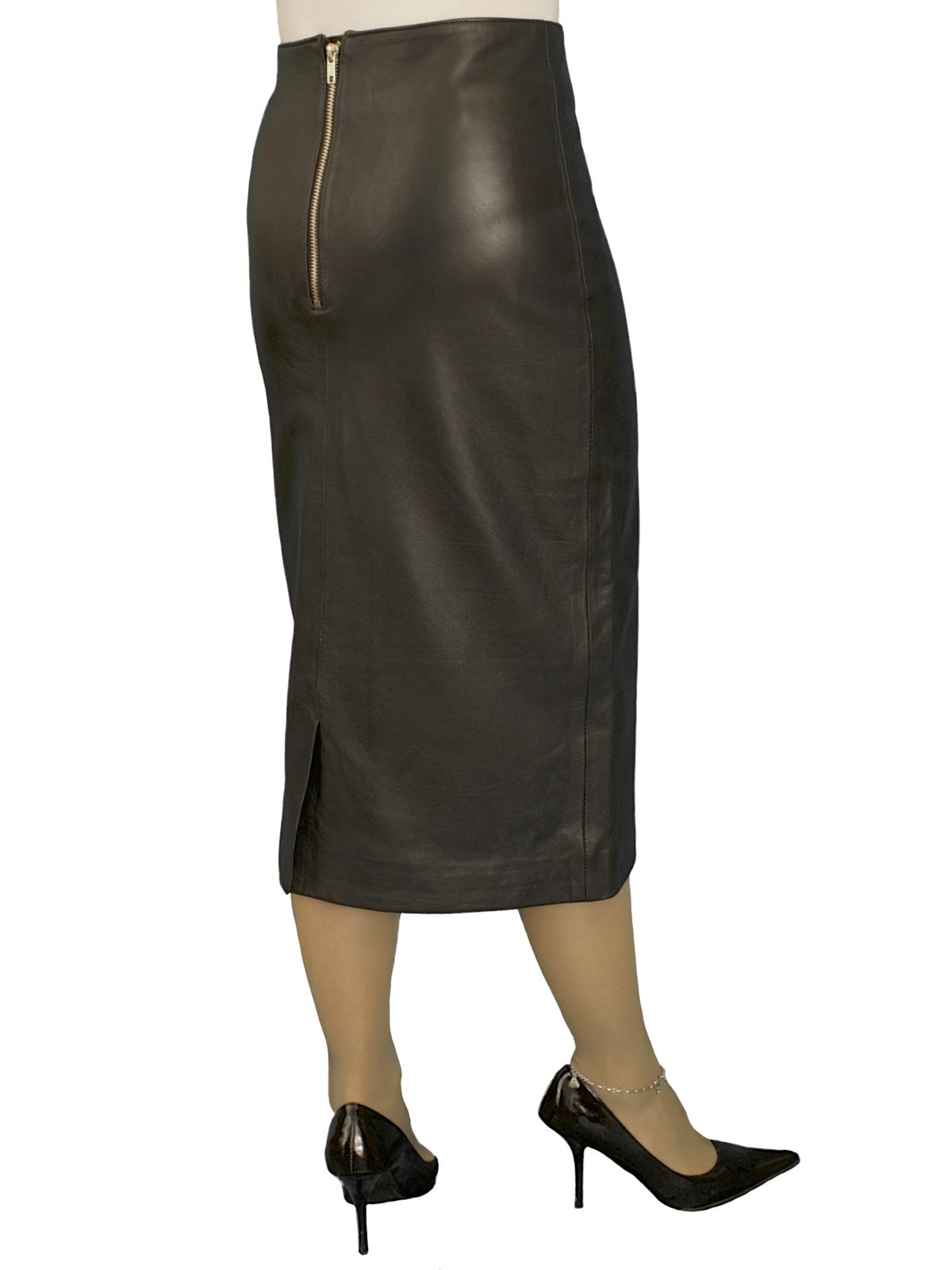 Luxury Black Leather Midi Pencil Skirt (27in length), kick pleat