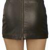 Ultra Short Soft Black Leather Mini Skirt with full rear zip