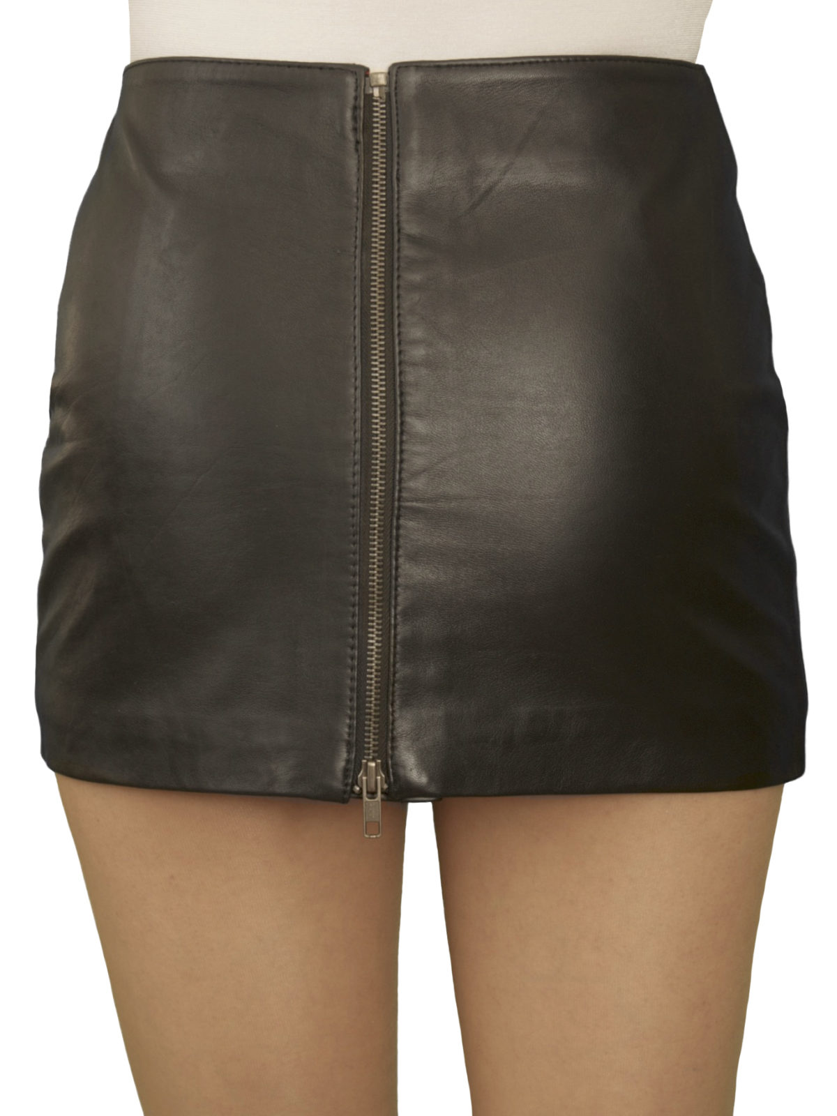 ultra short soft black leather mini skirt with full rear