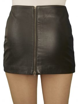 Ultra Short Soft Black Leather Mini Skirt with full rear zip