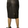 Black Leather Knee Length Pencil Skirt with full rear zip