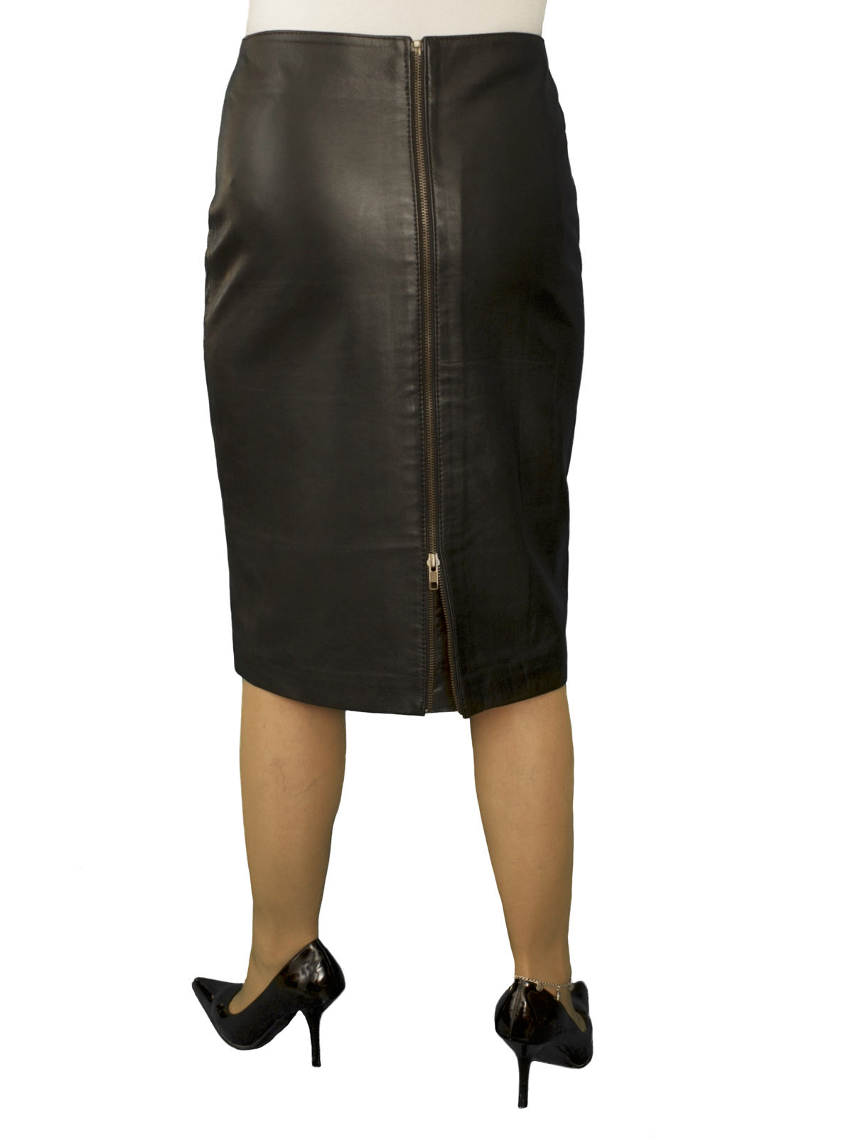 29bdb98a085 Black Leather Knee Length Pencil Skirt with full rear zip (23 ...