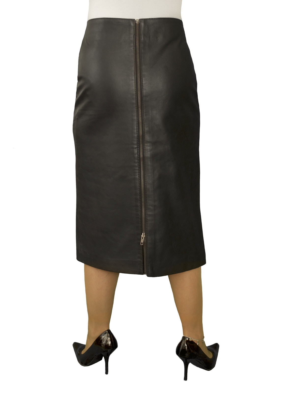 Black Superior Leather Midi Pencil Skirt with full rear zip (Length 27in)