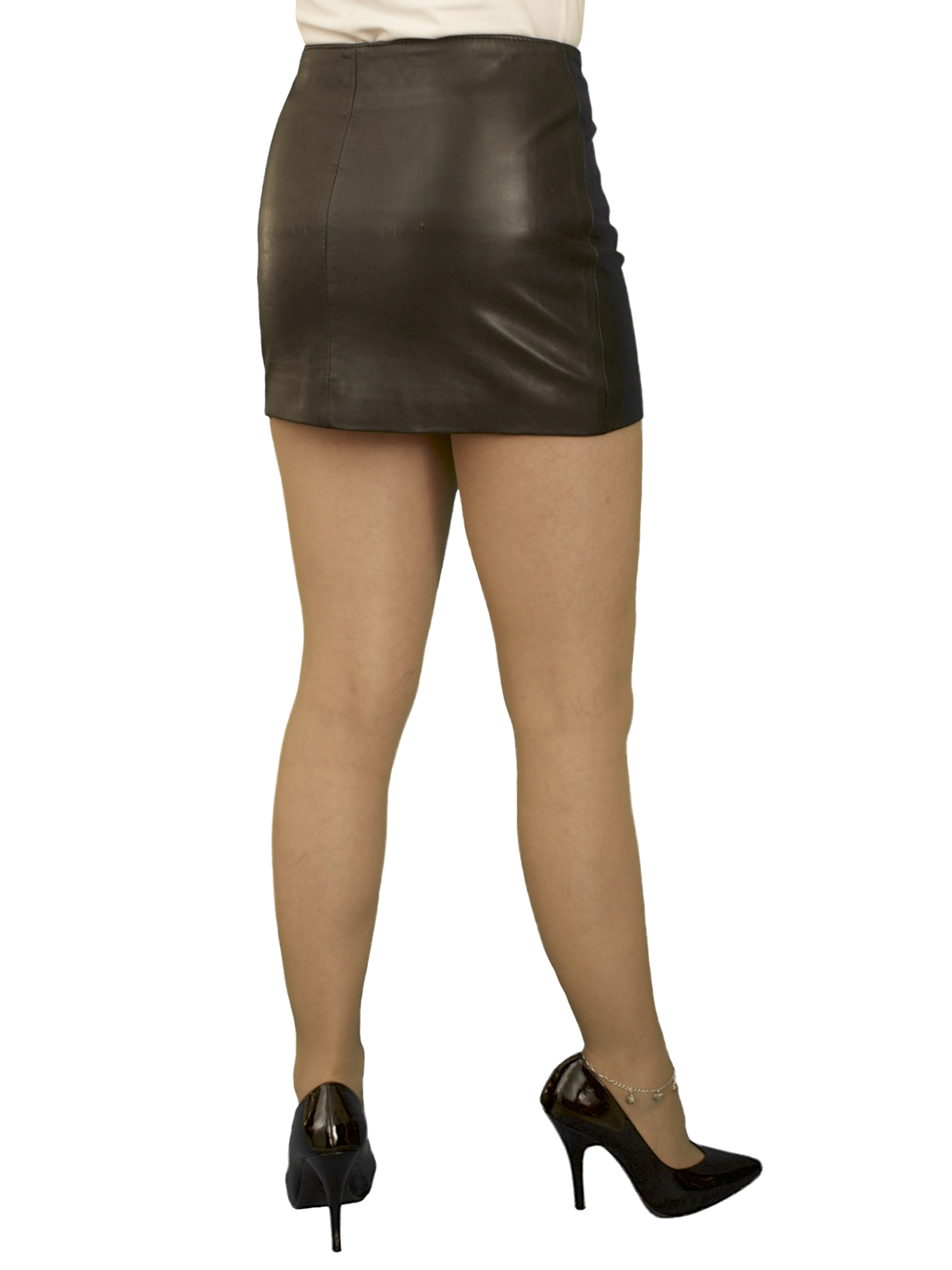 9e51a6a6 Soft Black Leather Mini Skirt with full front zip, extra short length (12