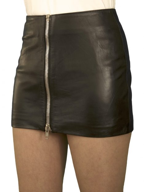 Soft Black Leather Mini Skirt With Full Front Zip, Extra -1212