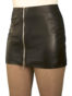 Black Leather Mini Skirt with full front zip, extra short 12in length