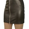 Black Luxury Leather Mini Skirt with full front zip