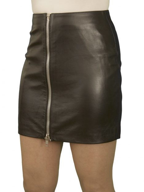Black Luxury Leather Mini Skirt With Full Front Zip 15