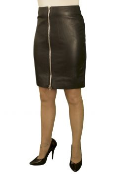 Black Luxury Leather Pencil Skirt, full front zip, 19in length