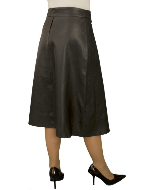 Black Flared Leather Skirt, below knee length, luxury soft