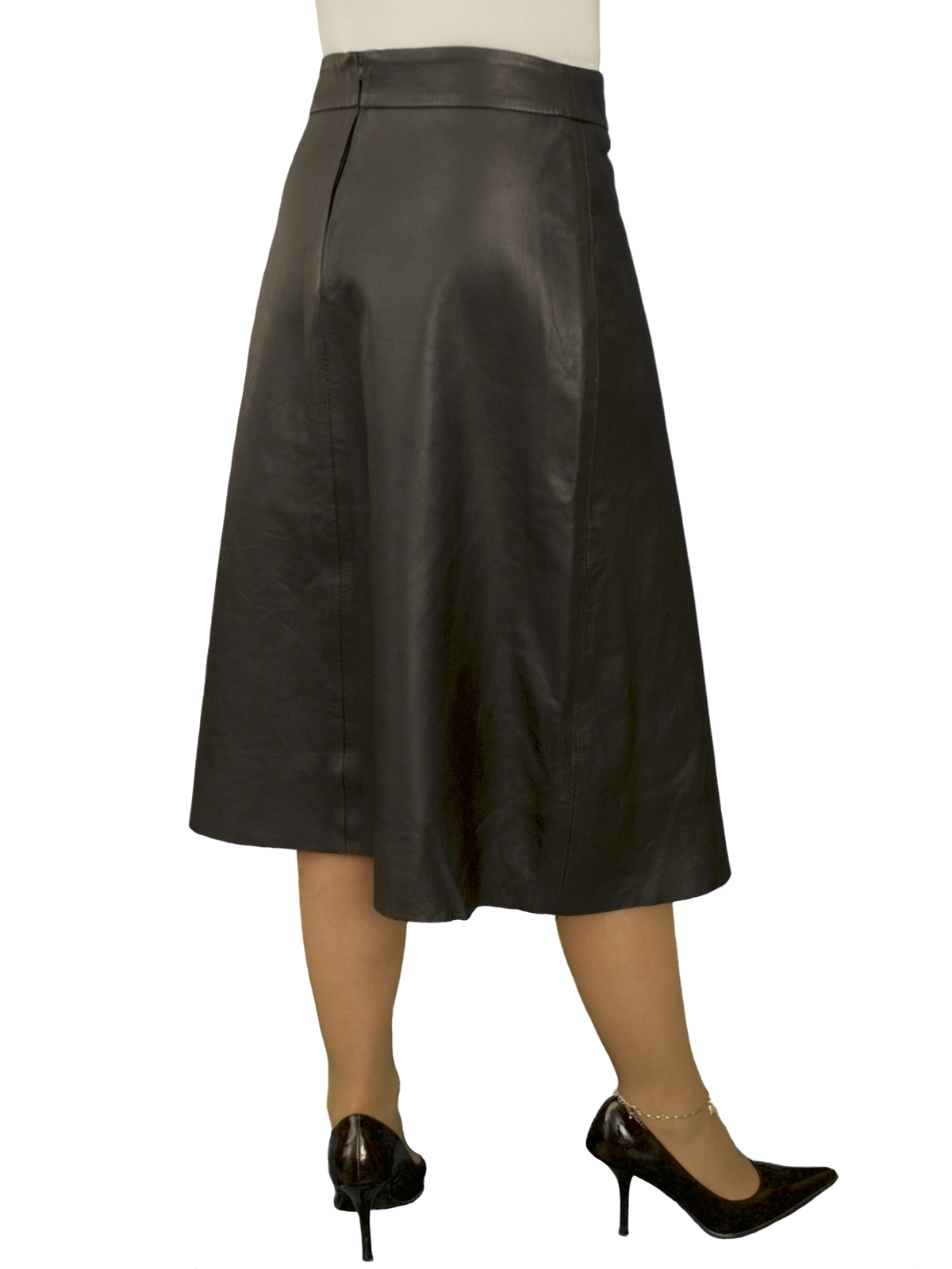 black flared leather skirt below knee length luxury soft