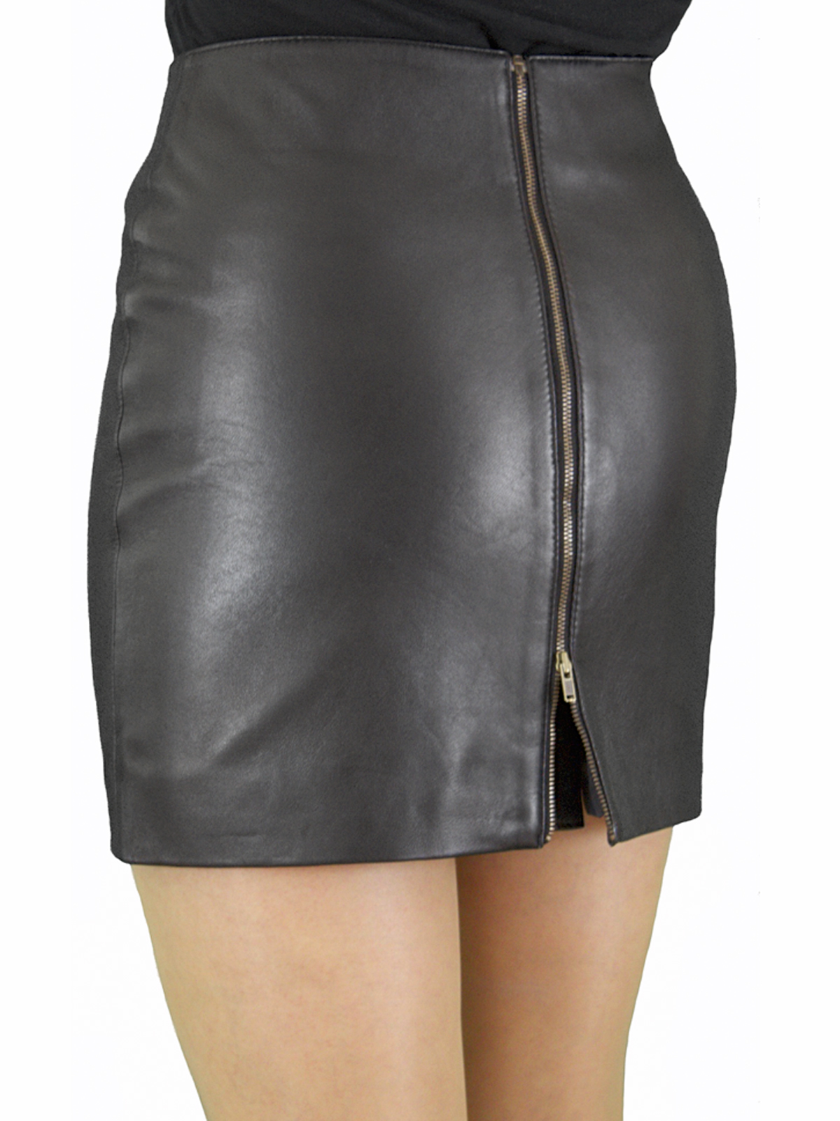 Black Superior Leather Mini Skirt with full rear zip, red lining