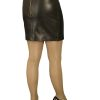 Black Tight Leather Mini Skirt with red lining, luxury soft