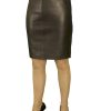 Luxury Black Leather Pencil Skirt, red lining, above knee 19in