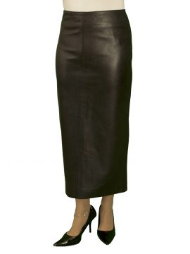Luxury Black Leather Midi Skirt with kick pleat (31in length)