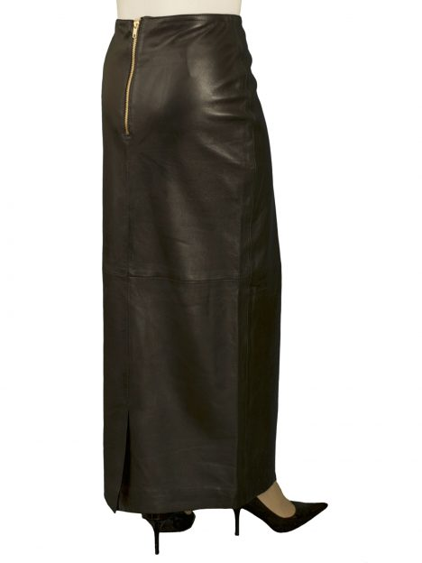 Black Leather Maxi Skirt with kick pleat, luxury soft