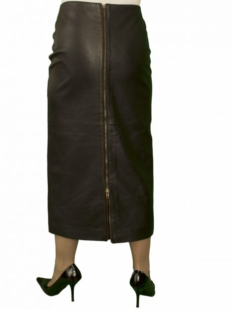 Black Leather Pencil Skirt, full rear zip, (mid-calf midi length)