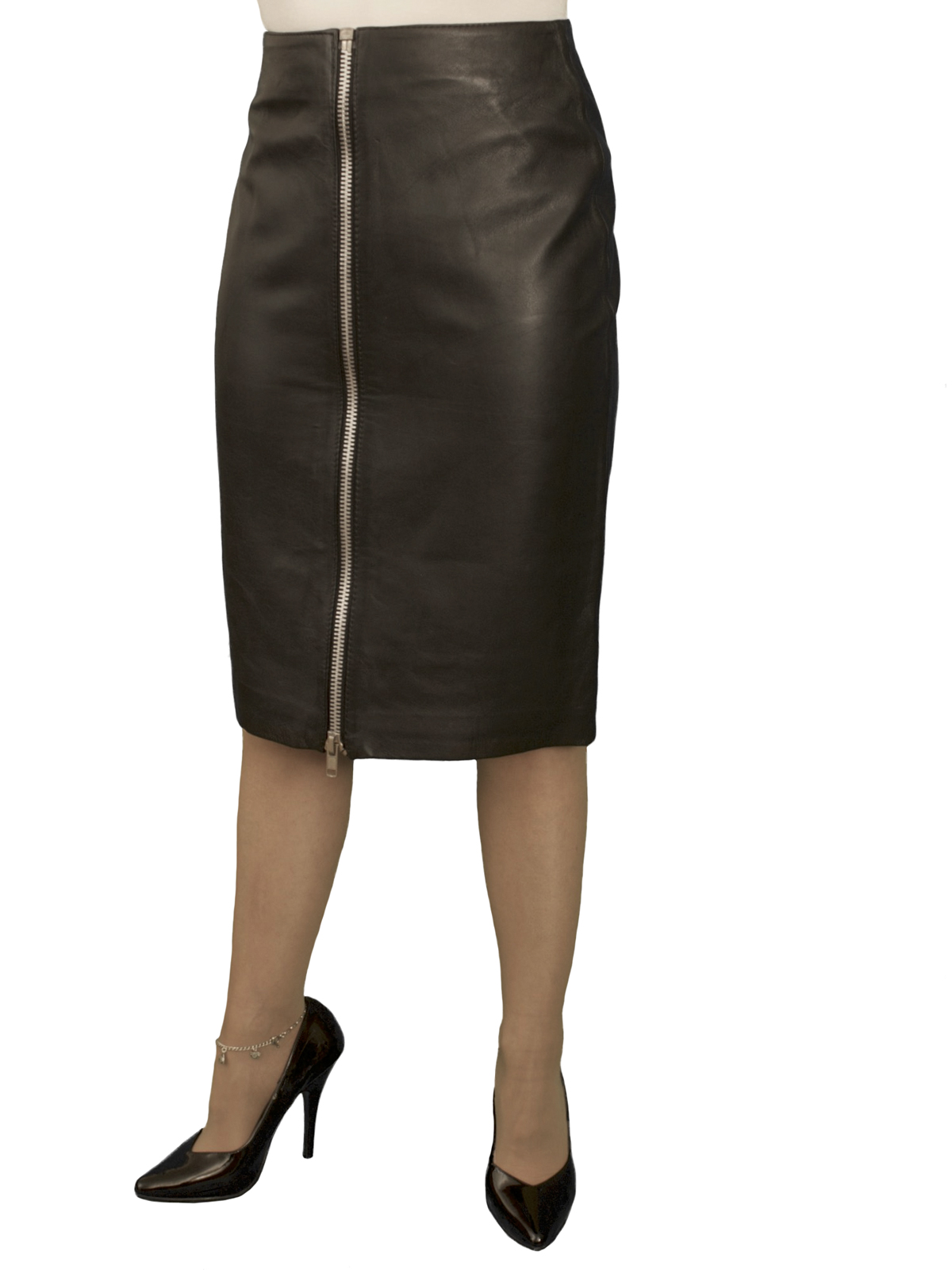 Black Luxury Leather Pencil Skirt with full front zip (knee length)