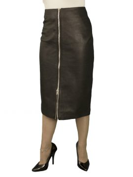 Black Midi Leather Skirt with full front zip (below knee 27in)
