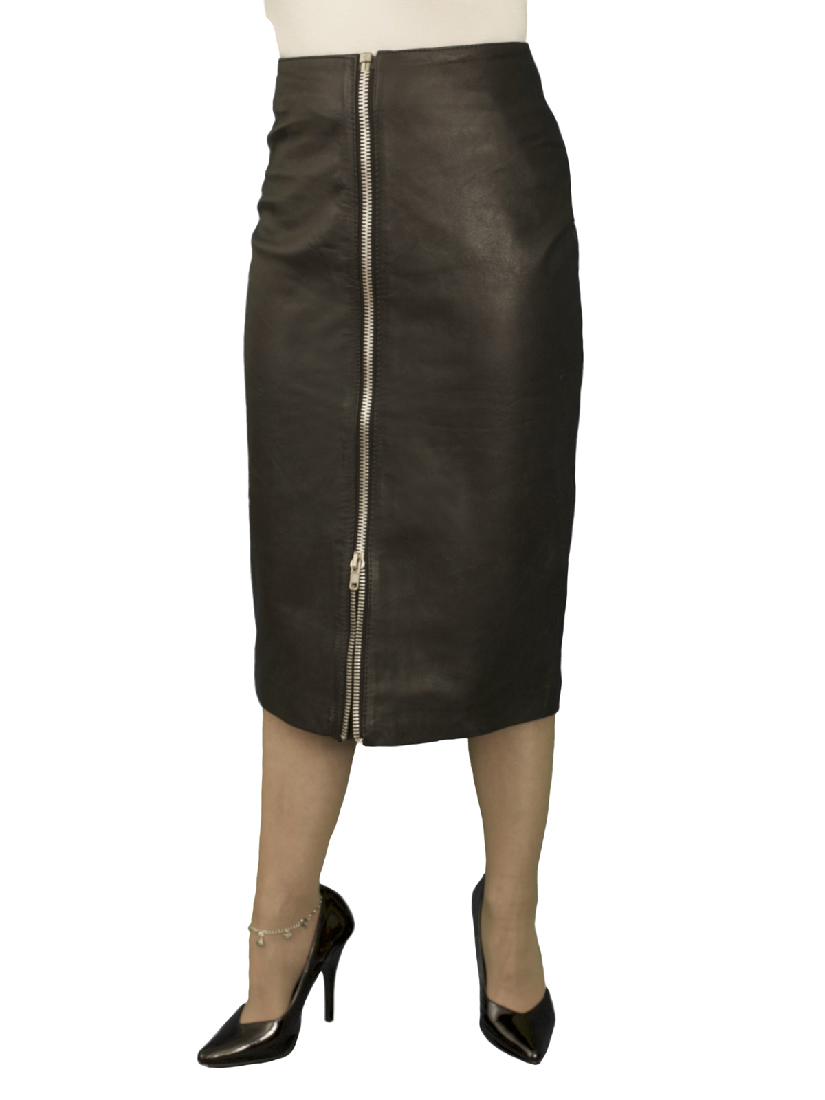 Black Midi Leather Skirt With Full Front Zip Below Knee