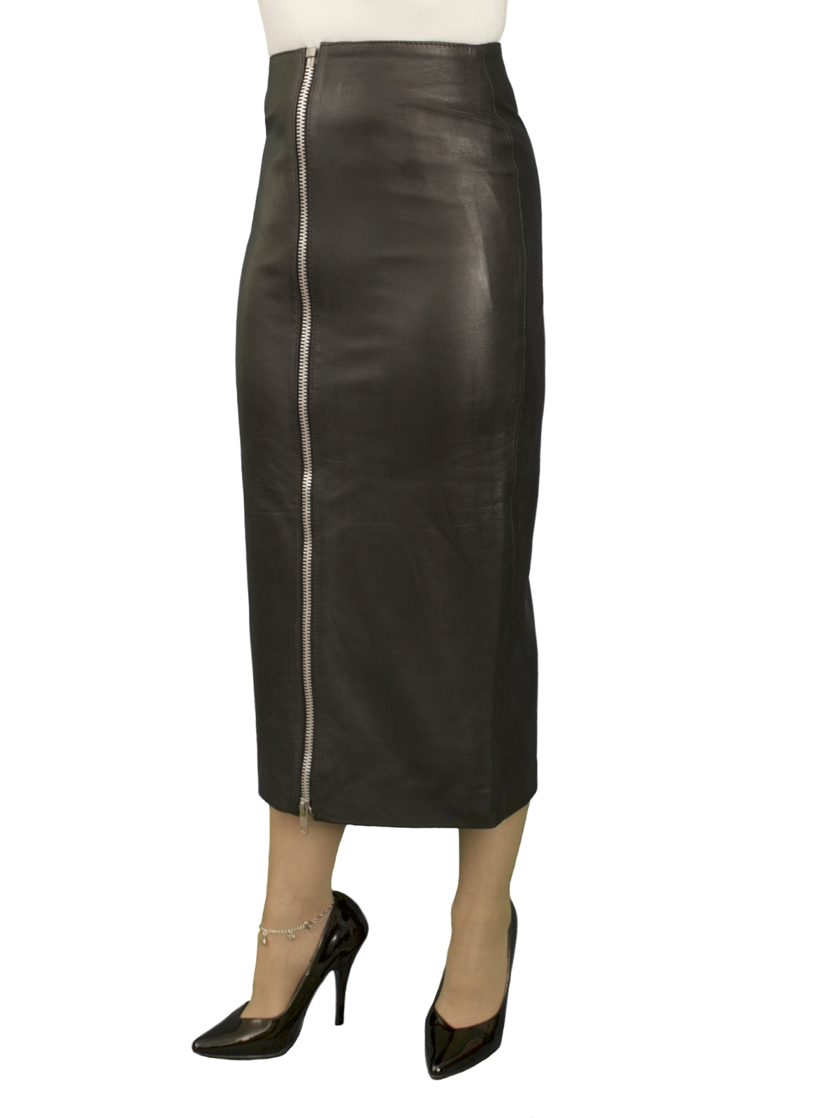 Black Luxury Leather Midi Skirt, full front zip (length 31in)