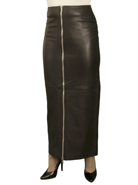 Black Leather Maxi Skirt With Full Front Zip Luxury Soft