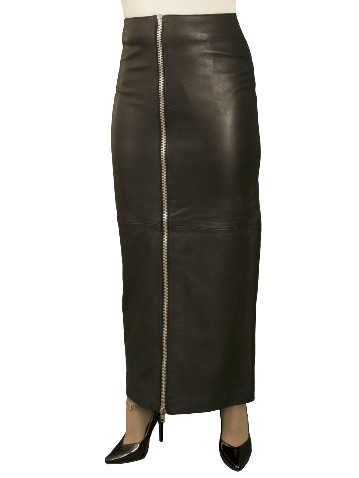 Black Leather Maxi Skirt with full front zip, luxury soft