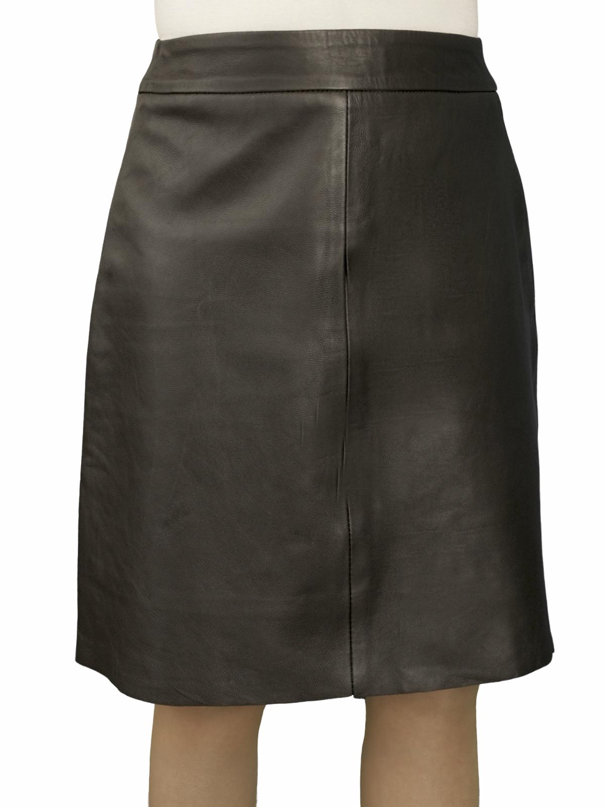 Black Leather Flared Skirt Knee Length Superior Soft (20u0026quot;) - Tout Ensemble