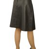 Black Leather Flared Skirt knee length, superior soft
