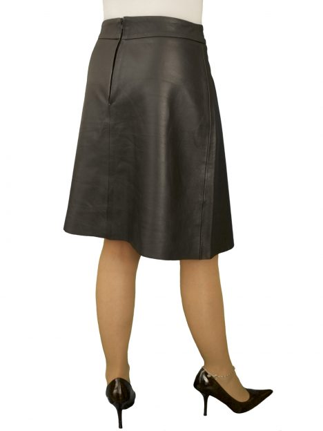 Black Leather Flared Skirt Knee Length Superior Soft 20