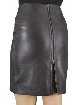 Black Luxury Leather Skirt with back zip and red lining, above-knee