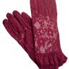 Dents Claret Lace Dress Gloves with Ruffle Cuff
