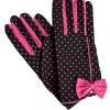 Dents Black Vintage Pink Polka Dot Dress Gloves